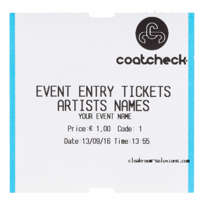 CoatCheck rol, Entreetickets zonder controlestrook, 14x 325 tickets, wit/blauw