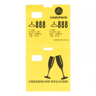 Coatcheck cloakroom tickets, 14 x 325 tickets, yellow
