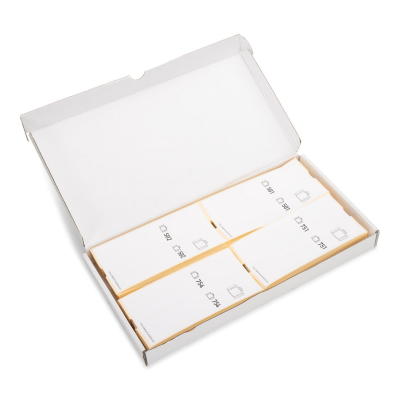 Doos met 500 Bagagelabels zelfklevend voorgeprint, serie 501-1000, wit