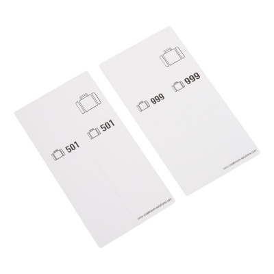 500 self-adhesive luggage tags, pre-printed, series 501-1000, white