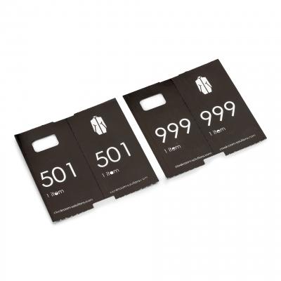 500 deluxe voorgeprinte garderobtickets, zwart, 501-1000