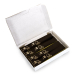 Box with 500 self-adhesive luggage tags, Black with gold print, pre-printed, series 501-1000
