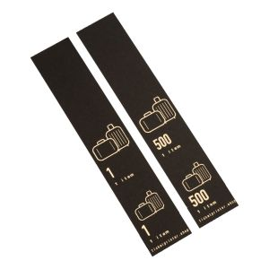 500 self-adhesive luggage tags, black with gold print, pre-printed, series 1-500